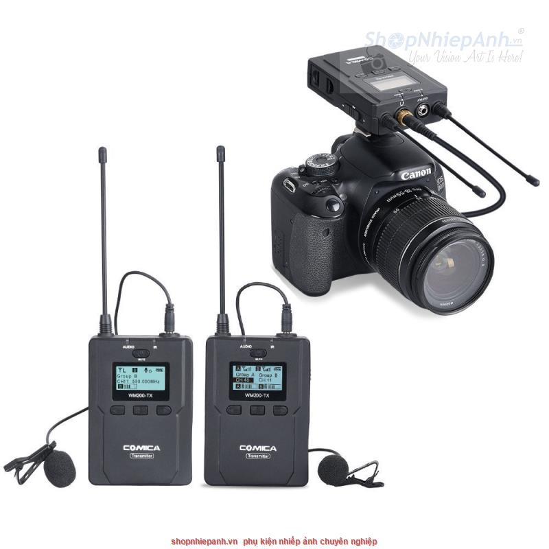 thumbnail Microphone wireless UHF Comica WM200A (2 phát 1 nhận)