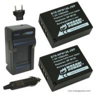 Combo 2 viên pin và sạc WASABI NP-W126 for Fujifilm X-E1 X-A2 X-M1 X-T1...