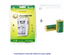 Combo 2 pin và 1 sạc đôi Delipow for CR123A / CR123