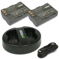Combo 2 viên pin và sạc đôi WASABI EN-EL3e for nikon D90 D300 D700 D70...