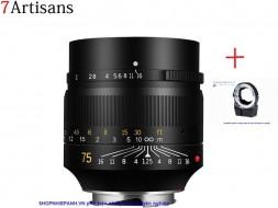 Combo Lens 7ARTISANS 75mm F1.25 và ngàm TechArt LM-EA7 autofocus Sony E fullframe