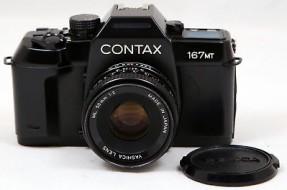 Combo máy film Contax 167MT và lens Yashica 50f2