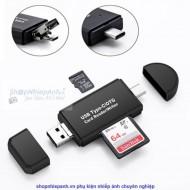 Đầu đọc thẻ otg SD/micro SD dành cho smartphone type C micro usb PC